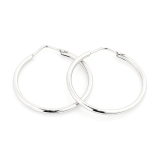 18 Kt White Gold Earrings ( Diameter 2,6 Cm )