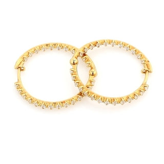 18 Kt Gold Earrings whit cubic zirconia ( Diameter 2,5 Cm )