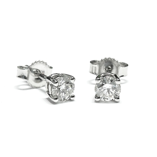 18 Kt White Gold Earrings with Diamonds kt. 0,62Kt. 0.62 G-Vs