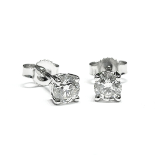 18 Kt White Gold Earrings with Diamonds kt. 0,80Kt. 0.80 G-Vs
