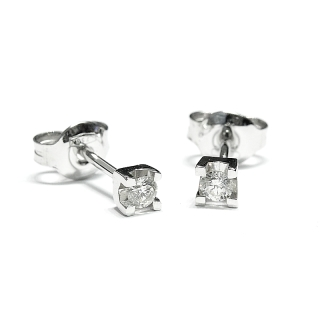 18 Kt White Gold Earrings with Diamonds KT.  0.16