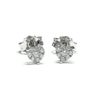18 Kt White Gold Earrings  with Diamonds kt. 0.20 F/VS