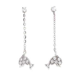 18 Kt White Gold Earrings with Cubic Zirconia