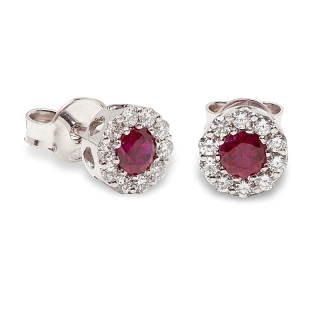 18 kt White Gold Earrings with Kt. 0,45 Ruby and Kt. 0,27 Natural Diamonds