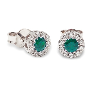 18 kt White Gold Earrings with Kt. 0,35 Emerald and Kt. 0,27 Natural Diamonds