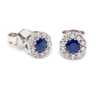 18 kt White Gold Earrings with Kt. 0,40 Sapphire and Kt. 0,27 Natural Diamonds