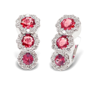 18 kt White Gold Earrings with Kt. 0,93 Rubies and Kt. 0,44 Natural Diamonds