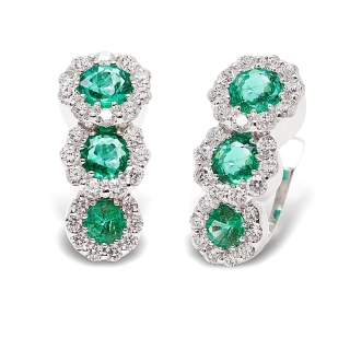 18 kt White Gold Earrings with Kt. 0,70 Emeralds and Kt. 0,44 Natural Diamonds