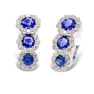 18 kt White Gold Earrings with Kt. 0,86 Sapphires and Kt. 0,44 Natural Diamonds
