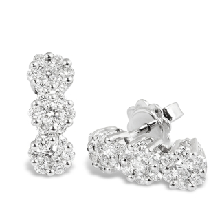 18 kt White Gold Earrings with F/VVS Natural Diamonds.