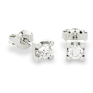 18 KT White Gold Earrings with diamonds kt. 0,12