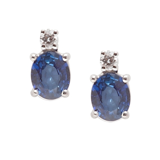 18 KT White Gold Earrings Sapphires Kt, 0,80 Diamonds Kt, 0,04