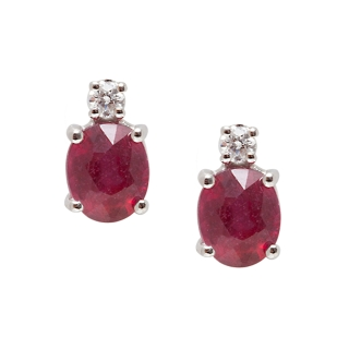 18 KT White Gold Earrings Rubies Kt, 1,00 Diamonds Kt, 0,04