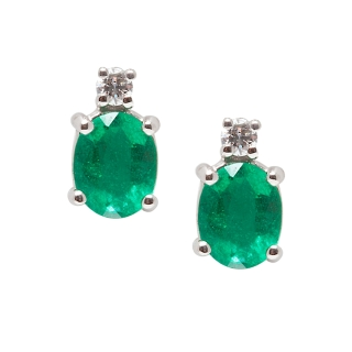 18 KT White Gold Earrings Emeralds Kt, 0,60 Diamonds Kt, 0,04