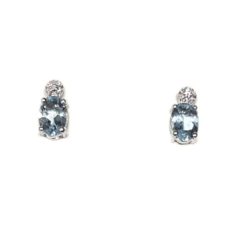 18 KT White Gold Earrings Aquamarine Kt, 1,20 Diamonds Kt, 0,06