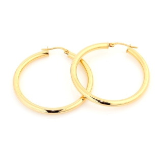 18 Kt Gold Earrings ( Diameter 3 Cm )
